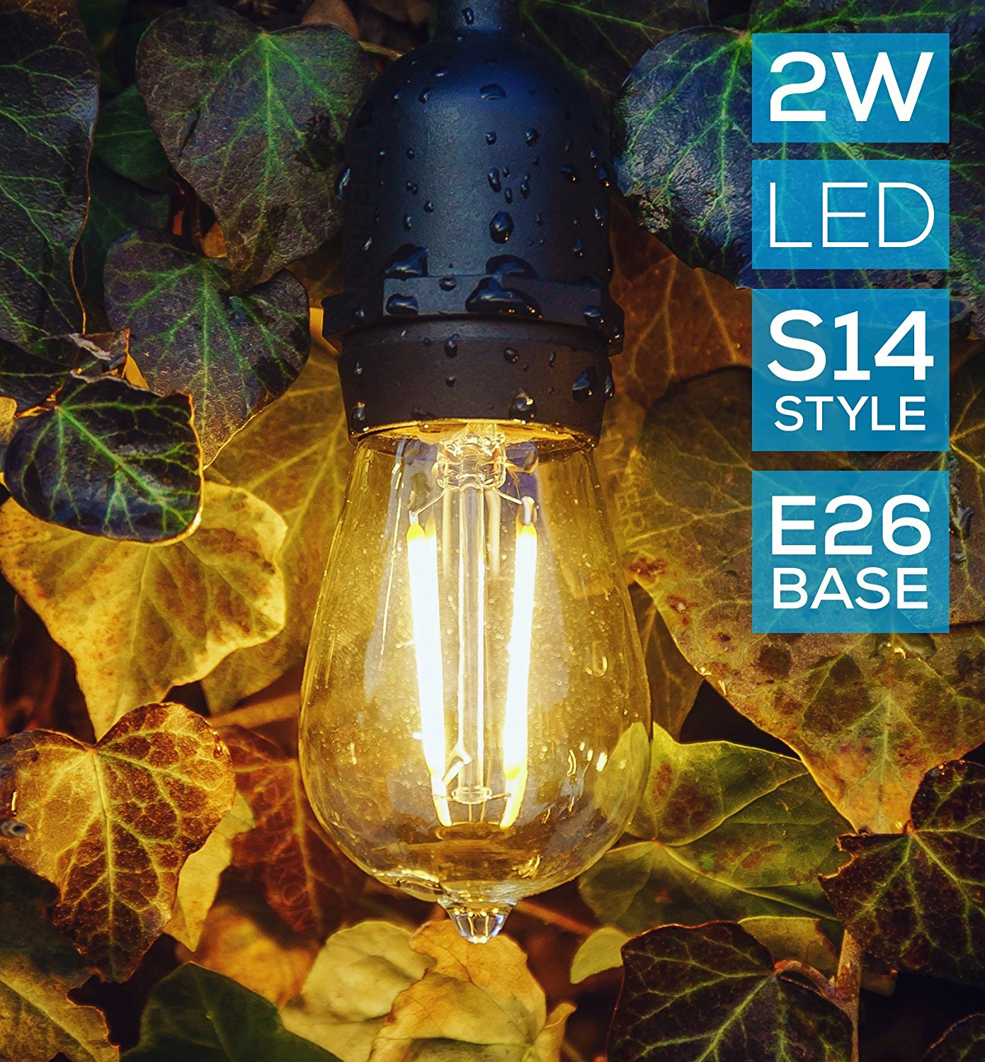 Worbest LED String Lights 48ft 24 Hanging Bulbs