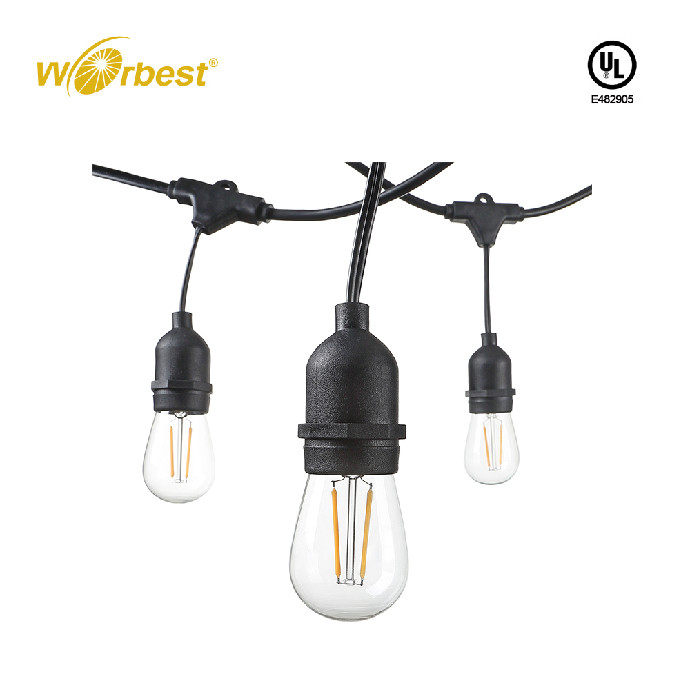 Worbest 48 Foot Weatherproof Outdoor String Lights S14 LED Bulbs